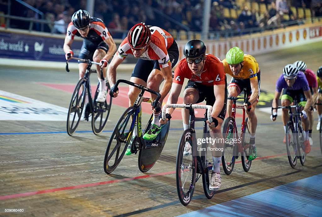 Marc Hester, Alex Rasmussen, Daniel Holloway leads the peloton during day five at the Copenhagen Six Days Race Cycling at Ballerup Super Arena on February 8, 2016 in Ballerup, Denmark.