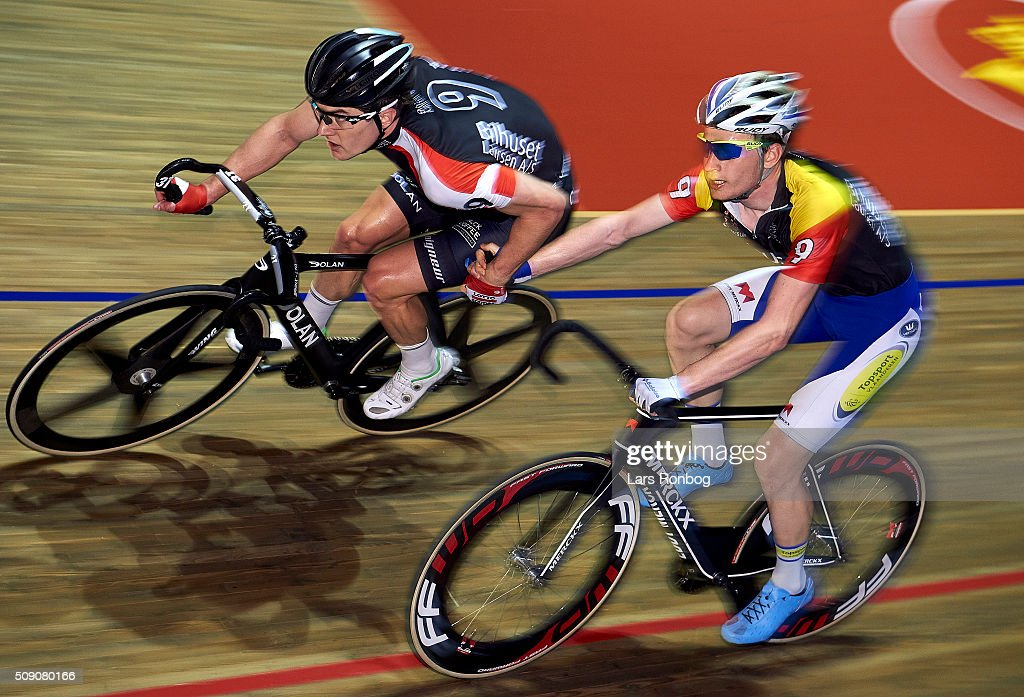 Marc Hester and Otto Vergaerde in action during day five at the Copenhagen Six Days Race Cycling at Ballerup Super Arena on February 8, 2016 in Ballerup, Denmark.