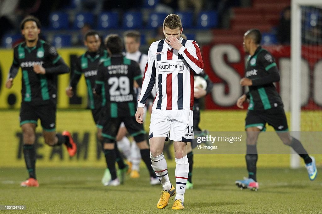 Marc Hocher of Willem II (C) during the Dutch Eredivisie match between Willem II and FC Groningen at the Koning Willem II Stadium on march 30, 2013 in Tilburg, The Netherlands