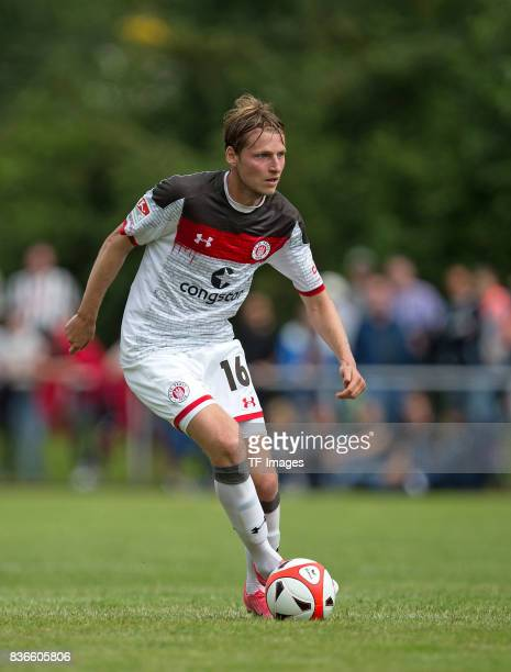Marc Hornschuh of St Pauli controls the ball during the preseason friendly match between VfB Oldenburg and FC St Pauli on July 8 2017 in Varel Germany