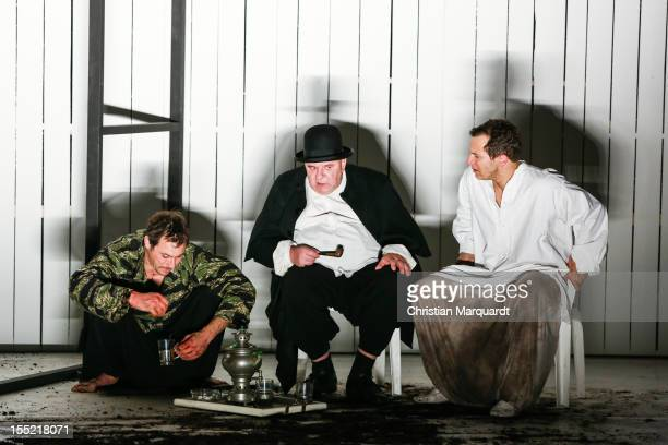Marc Hosemann Hendrik Arnst and Trystan Puetter perform on stage during rehearsals for 'Die Wirtin' at Volksbuehne Berlin on November 01 2012 in...