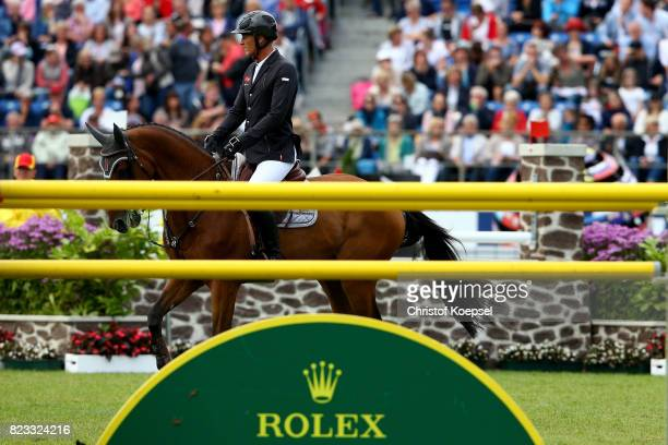Marc Houtzager of the Netherlands rides onSterrehof's Calimero and won the third place during the Rolex Grand Prix of CHIO Aachen 2017 at Aachener...
