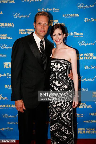 Marc Hruschka and Anne Hathaway attend CHOPARD sponsors NEW YORK FILM FESTIVAL Opening Night at Avery Fisher Hall on September 26 2008 in New York...