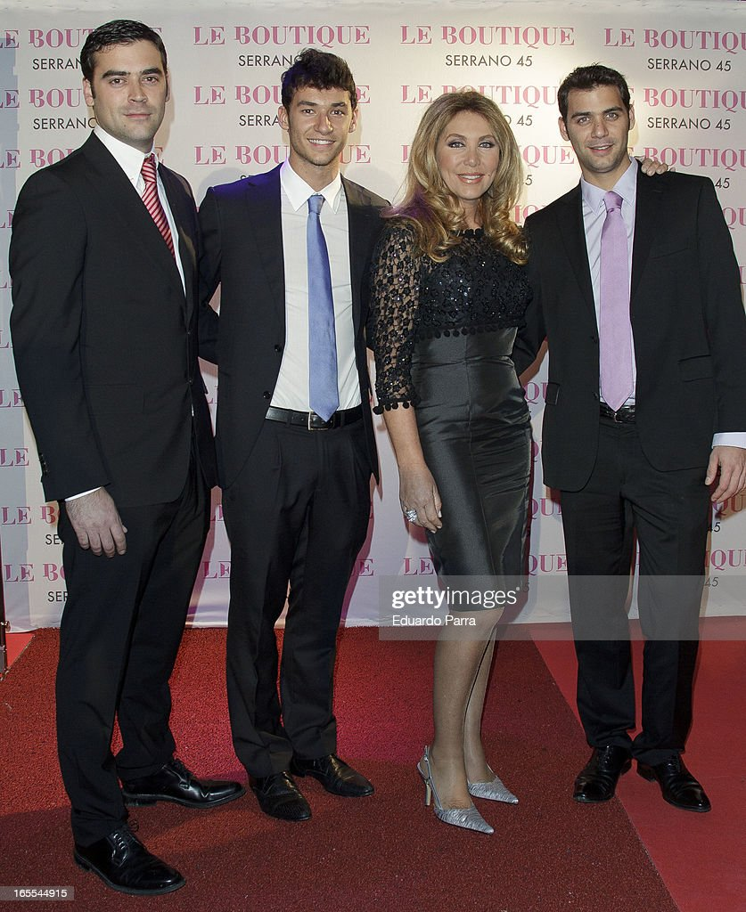 Marc Ivan Ostarcevic, Christian Ostarcevic, Norma Duval and Yeiko Ostarcevic attends the photocall for the birthday party of Norma Duval at Le Boutique disco on April 4, 2013 in Madrid, Spain.