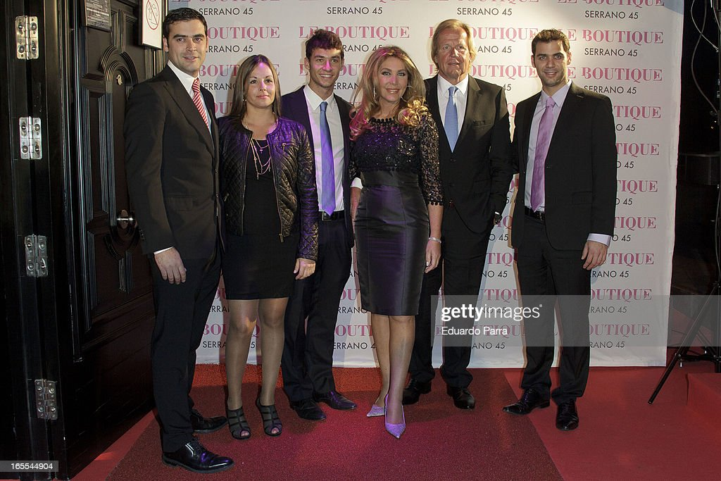 Marc Ivan Ostarcevic, Christian Ostarcevic, Norma Duval, Mathías Khun and Yeiko Ostarcevic attends the photocall for the birthday party of Norma Duval at Le Boutique disco on April 4, 2013 in Madrid, Spain.