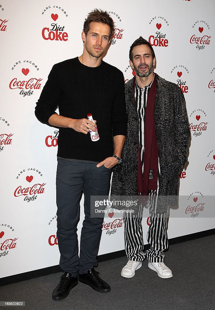 Marc Jacobs (R) and Andrew Cooper attends the launch party announcing Marc Jacobs as the Creative Director for Diet Coke in 2013 on March 11, 2013 in London, England.