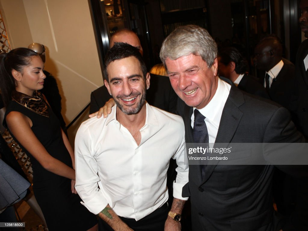 Marc Jacobs and CEO Chairman of Louis Vuitton Yves Carcelle attend the Louis Vuitton flagship store opening during Milan Fashion Week Womenswear...