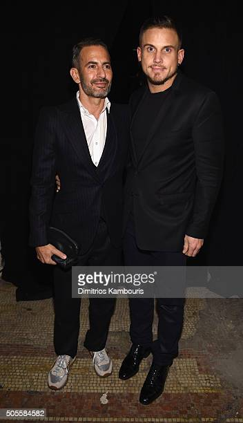 Marc Jacobs and Charly DeFrancesco attend Marc Jacobs Beauty Velvet Noir Mascara Launch Dinner on January 18 2016 in New York City