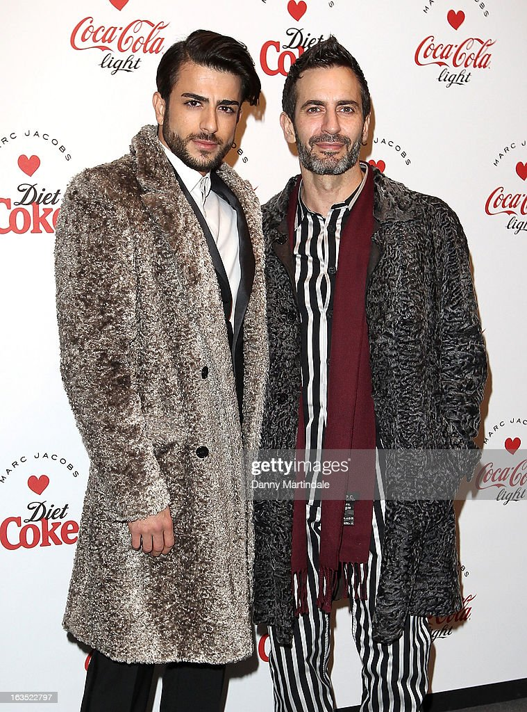 Marc Jacobs (R) and Eddie Diaz attends the launch party announcing Marc Jacobs as the Creative Director for Diet Coke in 2013 on March 11, 2013 in London, England.