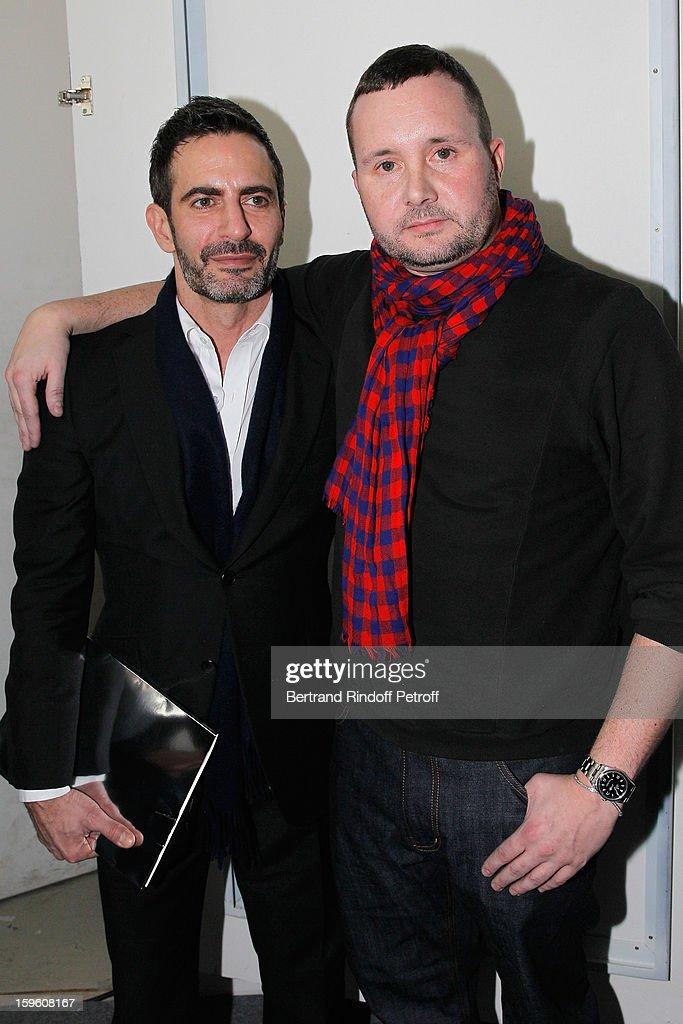 Marc Jacobs (L) and Kim Jones attend the Louis Vuitton Men Autumn / Winter 2013 show as part of Paris Fashion Week on January 17, 2013 in Paris, France.