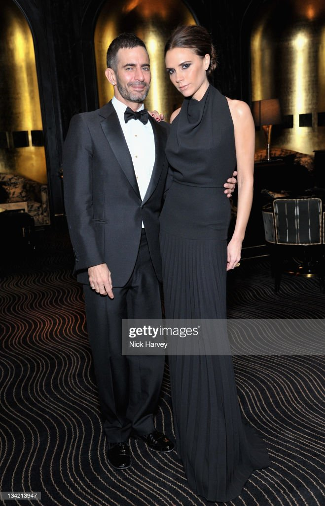 Marc Jacobs and <a gi-track='captionPersonalityLinkClicked' href=/galleries/search?phrase=Victoria+Beckham&family=editorial&specificpeople=161100 ng-click='$event.stopPropagation()'>Victoria Beckham</a> arrives at the British Fashion Awards at The Savoy Hotel on November 28, 2011 in London, England.