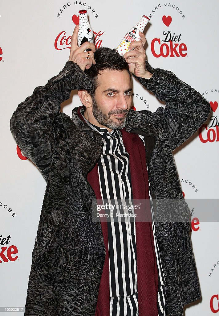 <a gi-track='captionPersonalityLinkClicked' href=/galleries/search?phrase=Marc+Jacobs+-+Fashion+Designer&family=editorial&specificpeople=4190324 ng-click='$event.stopPropagation()'>Marc Jacobs</a> attends the launch party announcing <a gi-track='captionPersonalityLinkClicked' href=/galleries/search?phrase=Marc+Jacobs+-+Fashion+Designer&family=editorial&specificpeople=4190324 ng-click='$event.stopPropagation()'>Marc Jacobs</a> as the Creative Director for Diet Coke in 2013 on March 11, 2013 in London, England.