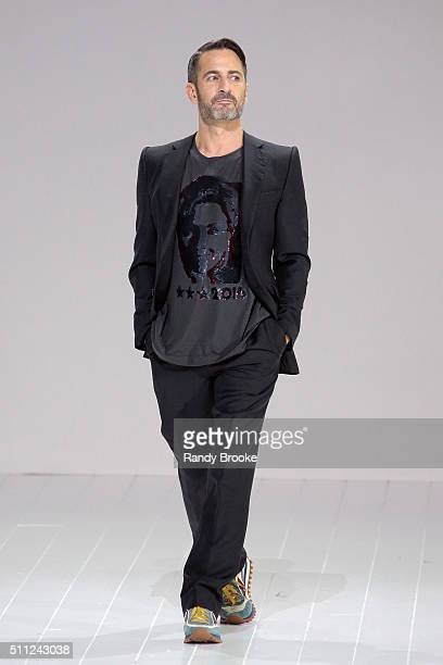 Marc Jacobs greets the audience after his Fall 2016 show during New York Fashion Week at The Park Avenue Armory at 643 Park Avenue on February 18...