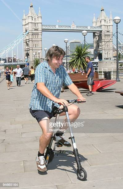 Marc James of London test drives the Abike a new lightweight folding bicycle which was launched in London UK Wednesday July 12 2006 The bicycle...
