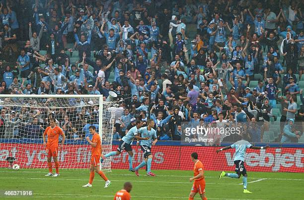 Marc Janko of Sydney FC celebrates after scoring his teams third goal during the round 21 ALeague match between Sydney FC and Brisbane Roar at...