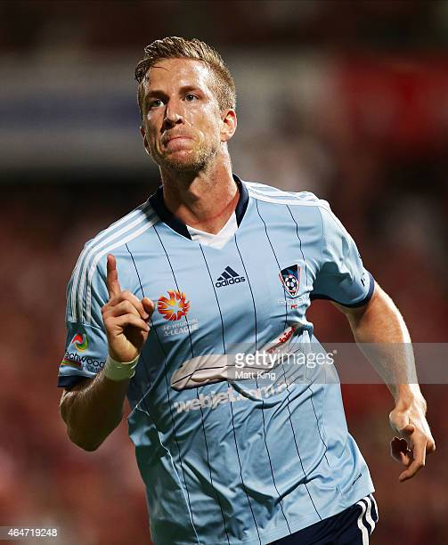 Marc Janko of Sydney FC celebrates scoring his second goal during the round 19 ALeague match between the Western Sydney Wanderers and Sydney FC at...