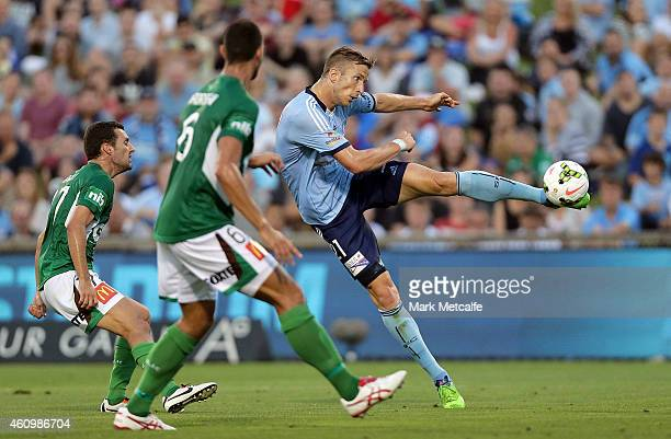 Marc Janko of Sydney strikes a volley to score a goal that was later disallowed for offside during the round 15 ALeague match between Sydney FC and...