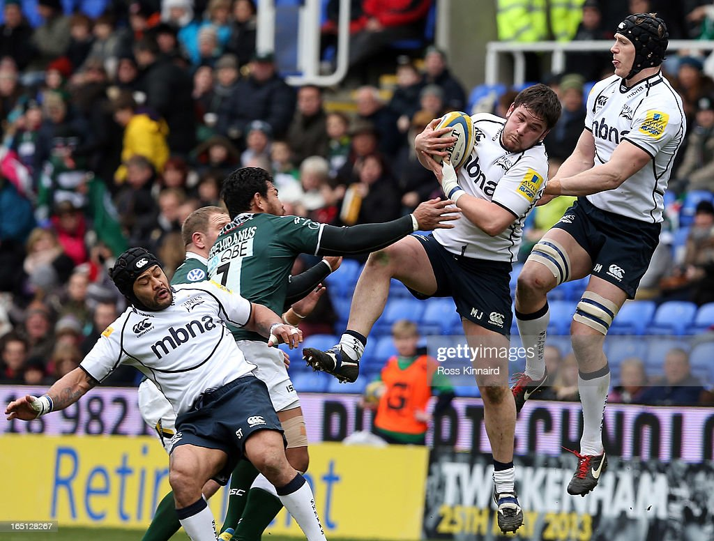 <a gi-track='captionPersonalityLinkClicked' href=/galleries/search?phrase=Marc+Jones+-+Welsh+Rugby+Hooker+Born+1987&family=editorial&specificpeople=15262586 ng-click='$event.stopPropagation()'>Marc Jones</a> and Kearnan Myall of Sale during the Aviva Premiership match between London Irish and Sales Sharks at the Madejski Stadium on March 31, 2013 in Reading, England.