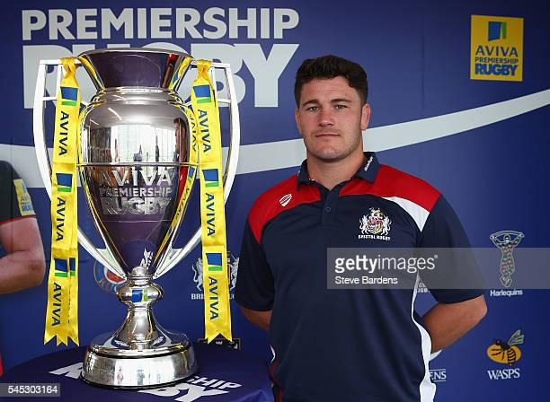 Marc Jones of Bristol Rugby poses with the Aviva Premiership Trophy during the 201617 Aviva Premiership Rugby Season fixtures announcement at BT...