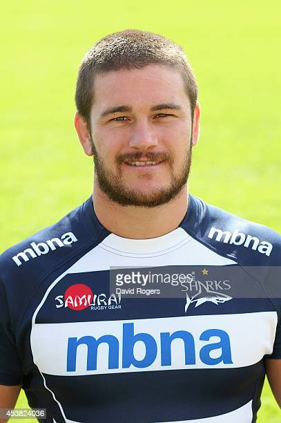 Marc Jones of Sale Sharks poses for a portrait at the photocall held at AJ Bell Stadium on August 19 2014 in Salford England