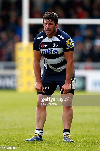 Marc Jones of Sale watches on during the Aviva Premiership match between Sale Sharks and Harlequins at the AJ Bell Stadium on April 25 2015 in...