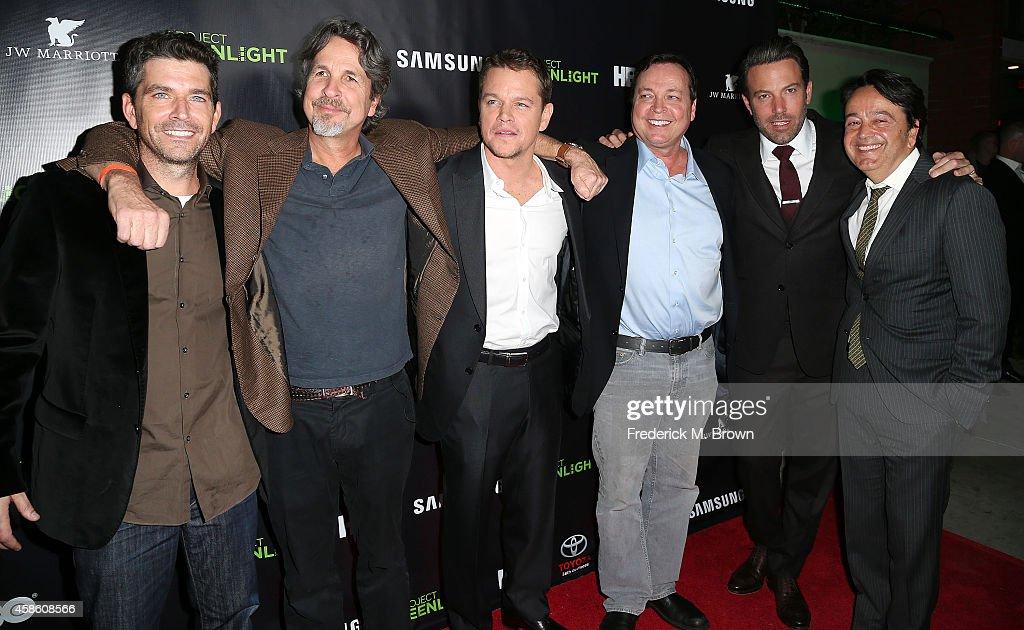 Marc Joubert, Peter Farrelly, Matt Damon, Bobby Farrelly, Ben Affleck, Len Amato attend HBO Reveals Winner of 'Project Greenlight' Season 4 at BOULEVARD3 on November 7, 2014 in Los Angeles, California.