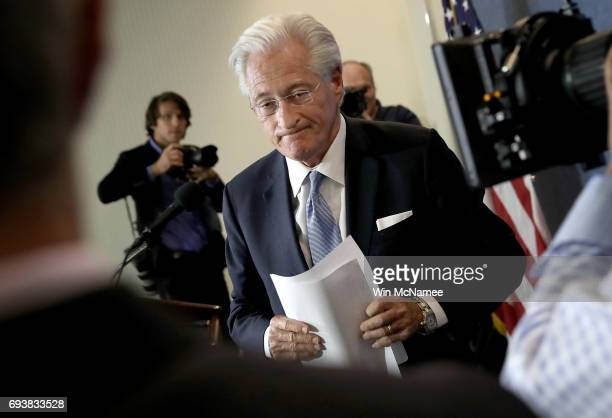 Marc Kasowitz attorney for US President Donald Trump departs after speaking at the National Press Club June 8 2017 in Washington DC Kasowitz...