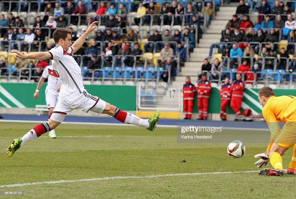 Marc Kempf of Germany fails at Goalkeeper Damian Podlesny of Poland during the International Friendly match between U20 Germany and U20 Poland at...