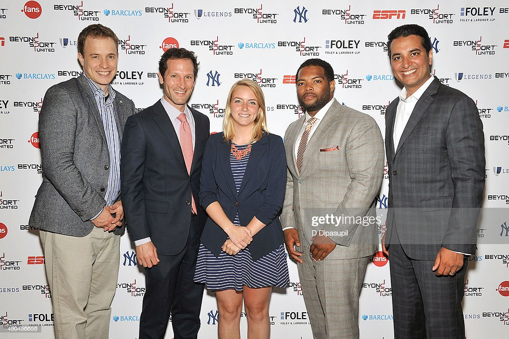 Marc Kielburger, Adam Grossman, Corinne Eckert, Gemar Mills, and Kevin Negandhi attend Beyond Sport United - Workshops & Panels at Yankee Stadium on June 11, 2014 in the Bronx borough of New York City.