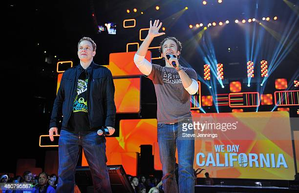Marc Kielburger and Craig Kielburger in Oakland CA speak about youth empowerment to 16000 students and educators at the first We Day California at...
