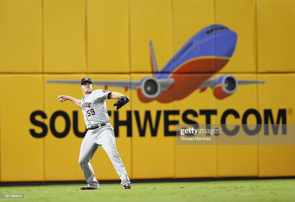 Marc Krauss #59 of the Houston Astros at Rangers Ballpark in Arlington on September 24, 2013 in Arlington, Texas.