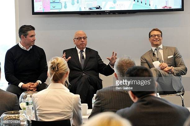 Marc Kushner President and CEO of Vector Group Howard Lorber and journalist Robert Frank attend the Douglas Elliman Wealth Report Launch on April 14...