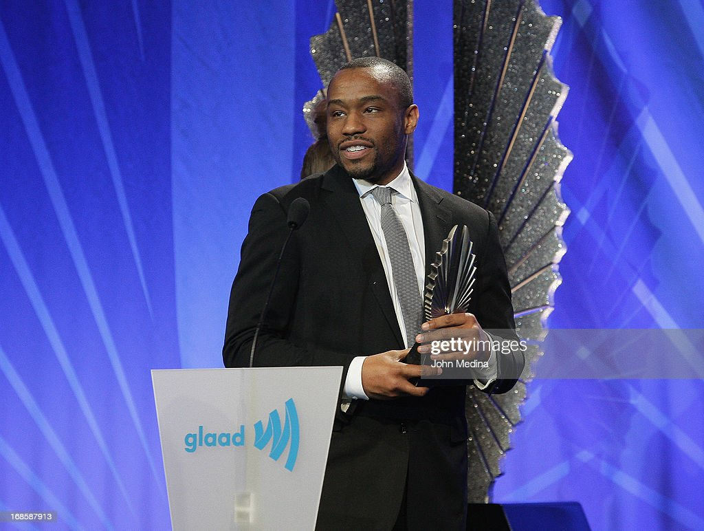 Marc Lamont Hill accepts the outstanding digital journalism article award during the 24th Annual GLAAD Media Awards at the Hilton San Francisco - Union Square on May 11, 2013 in San Francisco, California.
