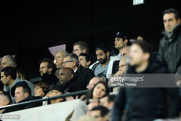 Marc Lavoine and Cyril Hanouna during the French Ligue 1 match between Lyon and Paris Saint Germain at Stade de Gerland on November 27 2016 in Lyon...