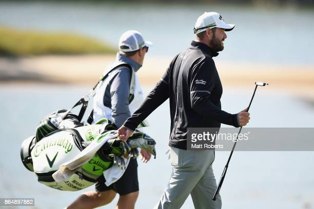 Marc Leishman of Australia acknowledges the crowd on the 18th fairway during the final round of the CJ Cup at Nine Bridges on October 22 2017 in Jeju...