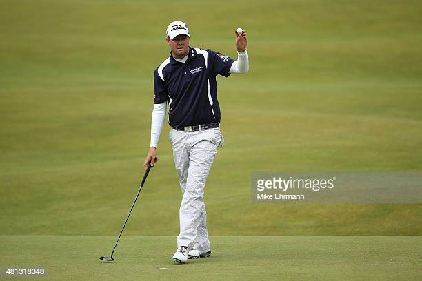 Marc Leishman of Australia celebrates a putt on the 15th green during the third round of the 144th Open Championship at The Old Course on July 19...