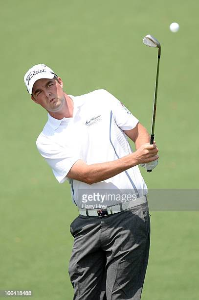 Marc Leishman of Australia chips on the second hole during the second round of the 2013 Masters Tournament at Augusta National Golf Club on April 12...