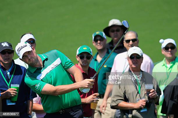 Marc Leishman of Australia hits a shot during a practice round prior to the start of the 2014 Masters Tournament at Augusta National Golf Club on...