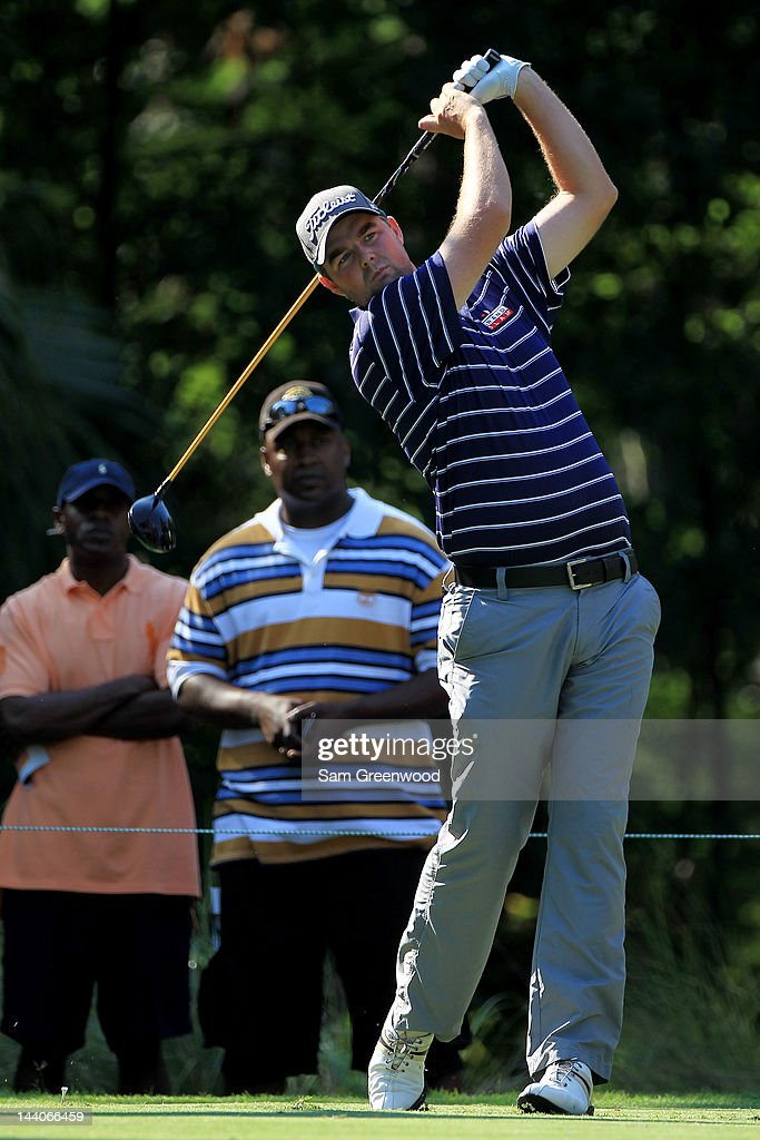 <a gi-track='captionPersonalityLinkClicked' href=/galleries/search?phrase=Marc+Leishman&family=editorial&specificpeople=2582046 ng-click='$event.stopPropagation()'>Marc Leishman</a> of Australia hits a tee shot as fans look on during a practice round prior to the start of THE PLAYERS Championship held at THE PLAYERS Stadium course at TPC Sawgrass on May 9, 2012 in Ponte Vedra Beach, Florida.