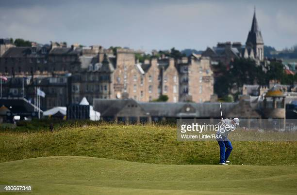 Marc Leishman of Australia hits his second shot on the 15th hole ahead of the 144th Open Championship at The Old Course on July 14 2015 in St Andrews...