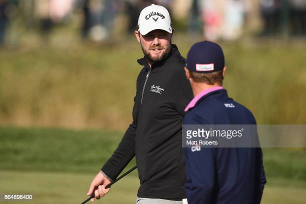 Marc Leishman of Australia looks back during the final round of the CJ Cup at Nine Bridges on October 22 2017 in Jeju South Korea