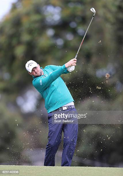 Marc Leishman of Australia plays a shot on ProAm Day ahead of the World Cup of Golf at Kingston Heath Golf Club on November 23 2016 in Melbourne...
