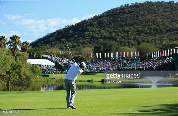 Marc Leishman of Australia plays an approach to the 18th green during the final round on day four of the Nedbank Golf Challenge at Gary Player CC on...