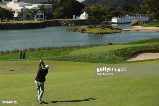Marc Leishman of Australia plays his second shot on the 18th hole during the final round of the CJ Cup at Nine Bridges on October 22 2017 in Jeju...