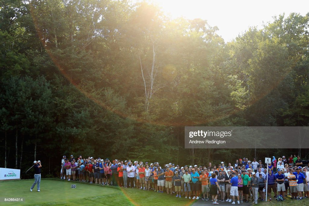 Marc Leishman of Australia plays his shot from the 15th tee during the final round of the Dell Technologies Championship at TPC Boston on September 4, 2017 in Norton, Massachusetts.