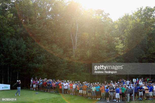 Marc Leishman of Australia plays his shot from the 15th tee during the final round of the Dell Technologies Championship at TPC Boston on September 4...