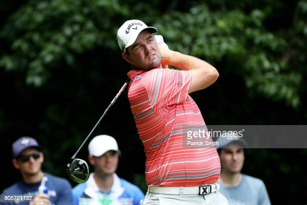 Marc Leishman of Australia plays his shot from the eighth tee during the final round of the Quicken Loans National on July 2 2017 TPC Potomac in...
