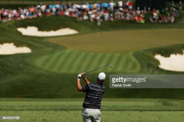 Marc Leishman of Australia plays his shot from the ninth tee during the second round of the Quicken Loans National on June 30 2017 TPC Potomac in...