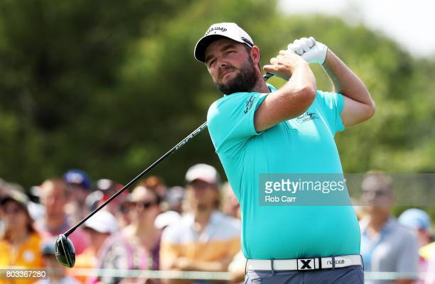 Marc Leishman of Australia plays his shot from the second tee during the first round of the Quicken Loans National on June 29 2017 TPC Potomac in...