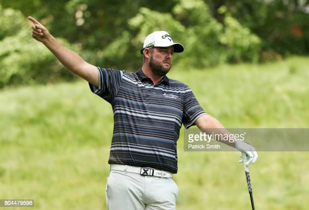 Marc Leishman of Australia plays his shot from the seventh tee during the second round of the Quicken Loans National on June 30 2017 TPC Potomac in...
